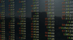 Stock market pannel, tilt Stock Footage