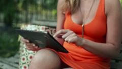 Beautiful woman with tablet computer, steadicam shot HD Stock Footage