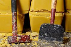 Blocks of honey bee's wax Stock Photos
