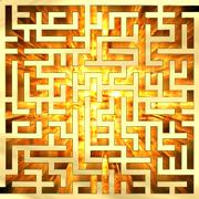 Golden labyrinth with flame Stock Illustration