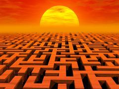 Labyrinth at sunset Stock Illustration
