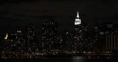 Ultra HD 4K Illuminated NYC by night Empire State Building New York City Skyline Stock Footage