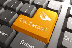 Stock Illustration of Keyboard with Tax Refund Button.