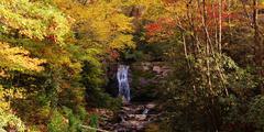 Autumn mountain waterfall Stock Photos