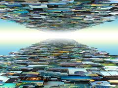 Wall with many photos - stock illustration