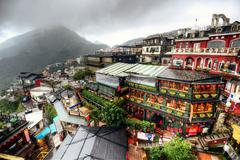 jiufen hillside teahouses - stock photo