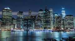 Manhattan timelapse at Night - New York City skyline with Freedom Tower Stock Footage