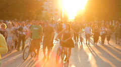 Beautiful Sunset People Passing Shadow  HD - stock footage