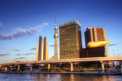 Tokyo at sumida river Stock Photos