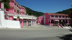 Pink Palace at Agios Gordis in Corfu Greece Stock Footage