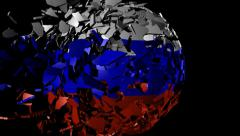 Russia flag sphere combining and breaking apart animation Stock Footage