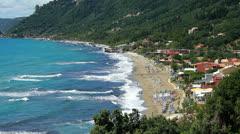 Coastline and beach at Agios Gordis on the island of Corfu Stock Footage