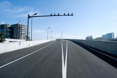 panoramic city overpass - stock photo