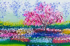 painting of flowers field and tree - stock illustration