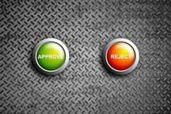 approve and reject button on diamond steel texture - stock illustration