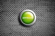 Stock Illustration of approve button on diamond steel texture