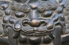 Bronze metal lion head statue Stock Photos