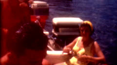 8mm film Boating 1960 summer fun at the lake retro yellow old fashion Stock Footage