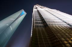 World financial center in pudong (swfc) and jin mao tower at night. Stock Photos