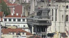 The Santa Justa Lift of Lisbon Stock Footage