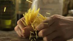 Breaking spaghetti, Slow Motion - stock footage