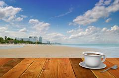 Coffee break at a thailand beach. Stock Illustration