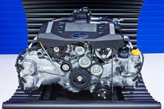 Subaru boxer engine 2.0 litre on display at thailand international motor expo Stock Photos