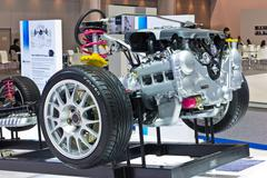 Subaru car frame and engine on display at thailand international motor expo 2 Stock Photos