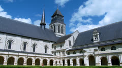 The Cloister - Fontevraud Abbey - Fontevraud-l'Abbaye France Stock Footage