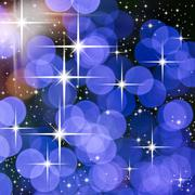 bright star and blue round light for web background - stock illustration