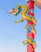 dragon statue in chinese temple - stock photo