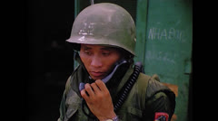Vietnam War Saigon - ARVN soldier Radio 01 Stock Footage