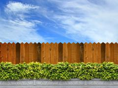 wooden fence and trees with sky in the background - stock photo