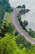 Highway by the Columbia River - stock photo
