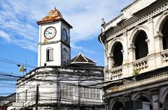 old building in phuket town, thailand. - stock photo