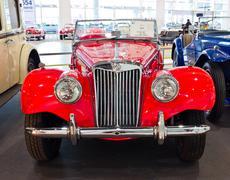 vintage car mg tf display at thailand international motor expo 2011 - stock photo