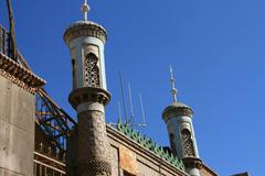 Islamic mosque in the high platform residential area in the old town of Kashgar - stock photo