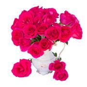 Mauve roses in vase Stock Photos