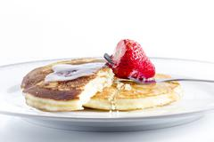 pancakes with strawberry - stock photo