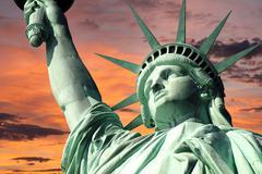 Statue of liberty sunrise Stock Photos