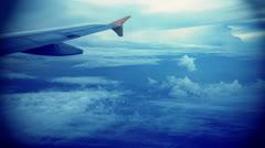 View through airplane window Stock Footage