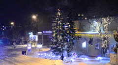 Night city in the winter - stock footage