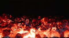 Hot Coals inside of Fireplace. HD - stock footage