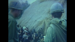 Vietnam War - Searching Vietcongs In Village 03 Stock Footage