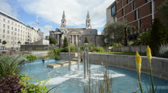 Nelson mandela gardens by the civic hall in the city of leeds  uk Stock Footage