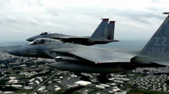 F-15 Eagle fighter jets close formation - stock footage