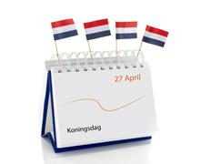 dutch calendar with 27 april kings day - stock photo
