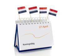 Kalender met koningsdag en nederlandse vlag Stock Photos