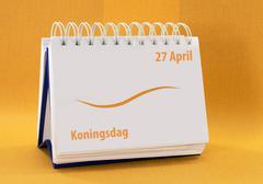 Kalender met 27 april koningsdag Stock Photos
