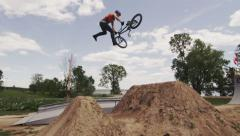 Ultra High Definition 4K - Extreme Sport - BMX tailwhip dirt jump Stock Footage